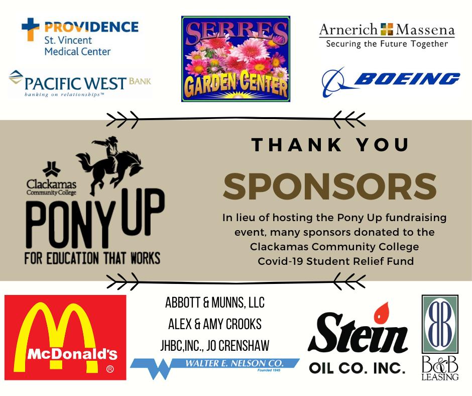 Pony Up Sponsors