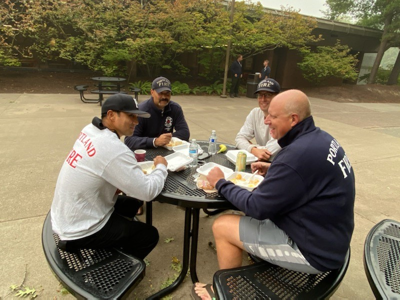 Firefighters eating